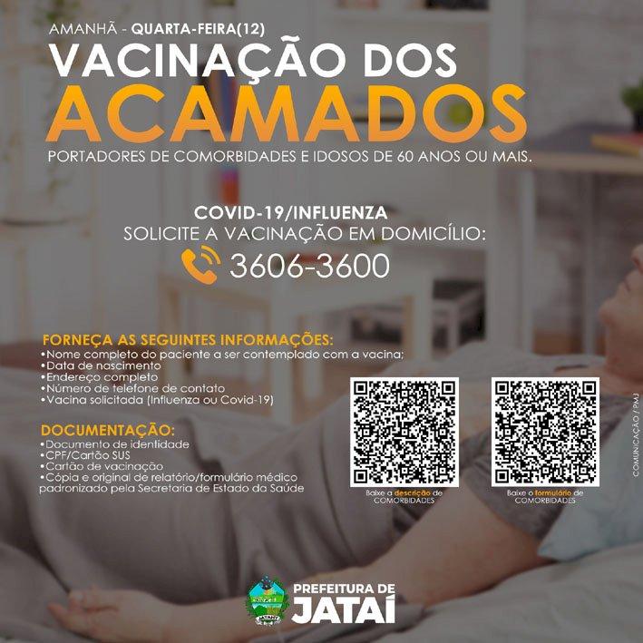 COMUNICADO: Levantamento para vacinação dos acamados portadores de comorbidades e idosos de 60 anos e mais