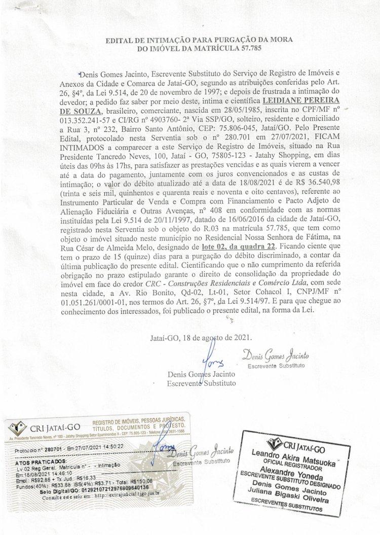 EDITAL DE INTIMAÇÃO PARA PURGAÇÃO DA MORA